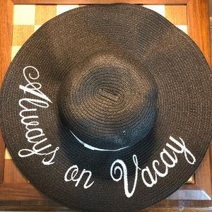 Accessories - Always On Vacay Black Paper Hat Beach Vacation